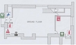 Tithe Barn ground floor plan with appliances and exits